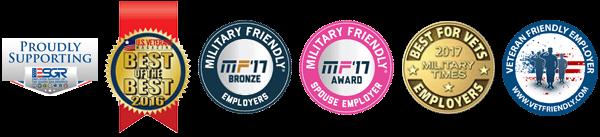Various Employement Awards from Military/Veteran associations