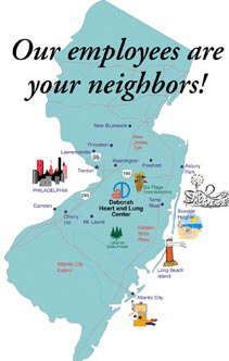 A map showing New Jersey landmarks