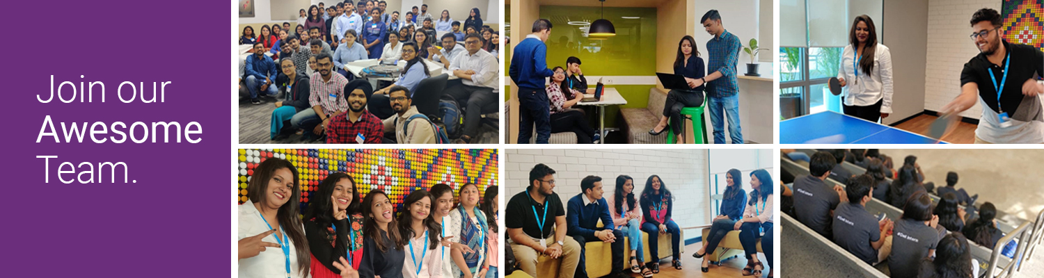 Students in different activities like networking event, intern orientation and meeting with team members