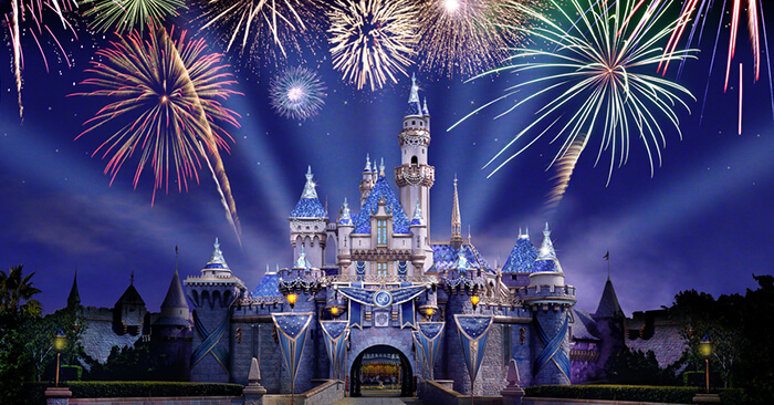 Fireworks above Sleeping Beauty Castle