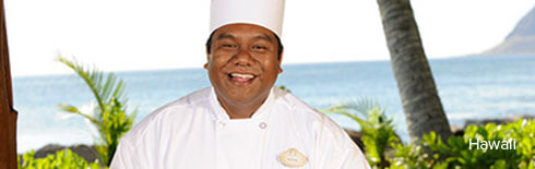 A smiling chef at Aulani, a Disney Resort & Spa
