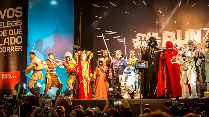 Star Wars characters on stage