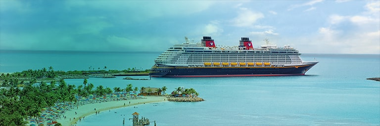 A Disney Cruise Ship pulling into a tropical port.