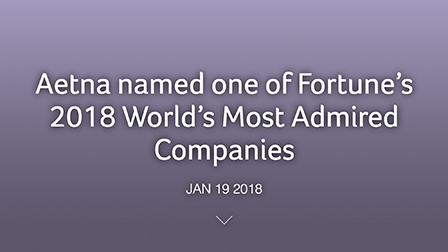 Aetna named one of Fortune's 2018 World's Most Admired Companies