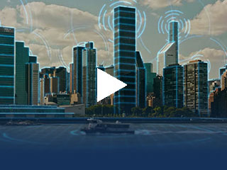 City skyline with connectivity illustrations overlay