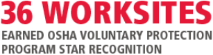36 work sites earned OSHA Voluntary Protection Program Start recognition