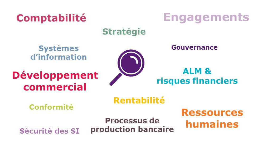 Nuage de mots clés, comptabilité, stratégie, engagements, SI, Gouvernance, risques...
