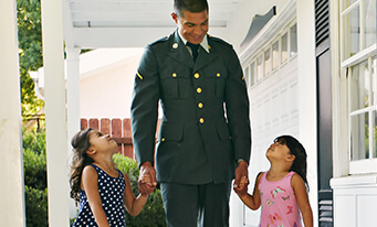 Military father walking with children