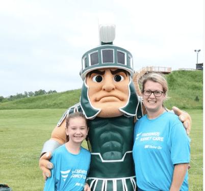 kidney walk Sparty mascot