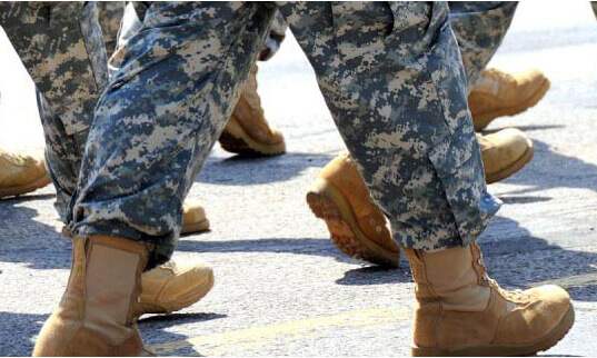 Military Soldiers walking, picture of legs only