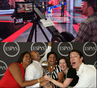 cameraman working off-screen and a small group of employees celebrating an award at the ESPYS