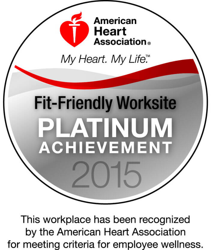 Platinum-Level Fit-Friendly Company by the American Heart Association