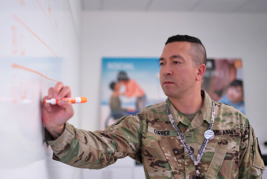 Man in a military uniform drawing on a whiteboard.