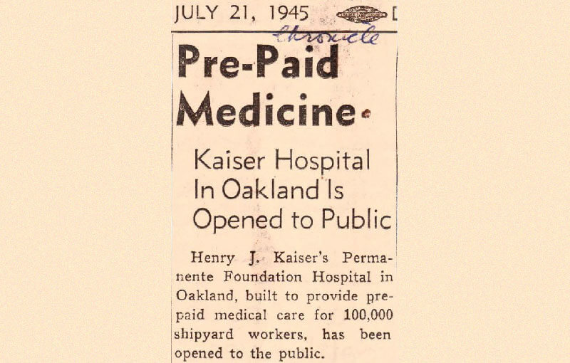 Pre-paid Medicine - Kaiser Hospital in Oakland is Opened to the Public