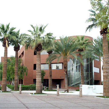 the Tempe regional office and spiral staircase surrounded by beautiful Arizona palms and friendly open space