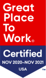 Great Place To Work logo. Certified Nov 2020 - Nov 2021 USA