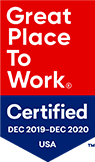 Great Place To Work logo. Certified Dec 2019 - Dec 2020 USA