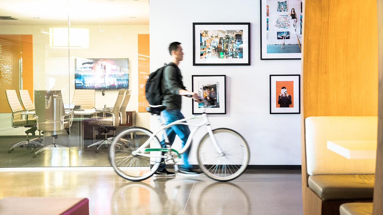 Employee with bike