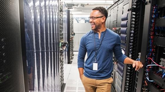 Man standing in server room