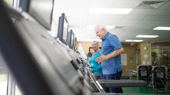 two senior citizens walking on treadmills
