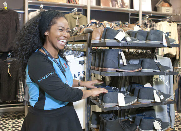 Sandra working in a Primark store