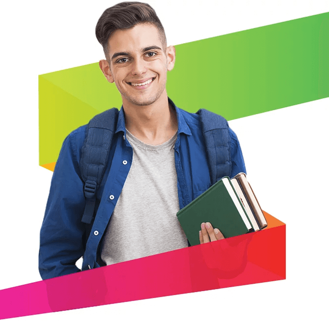 Man smiling with books in hand and backpack on