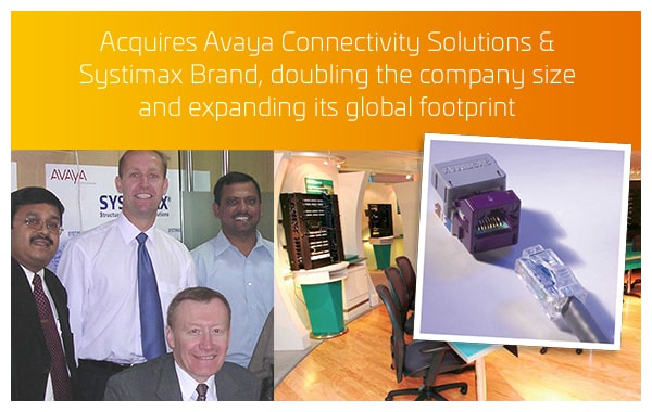 2004 - Acquires Avaya Connectivity Solutions & Systimax Brand, doubling the company size and expanding its global footprint
