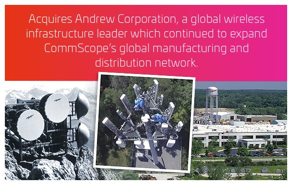 2007 - Acquires Andrew Corporation, a global wireless infrastructure leader which continued to expand CommScope's global manufacturing and distribution network