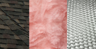 Closeups of asphalt shingles, pink fiberglass insulation, and a woven fiberglass fabric