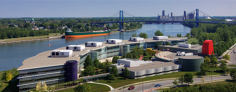Aerial view of World Headquarters on the Maumee River in Toledo, Ohio