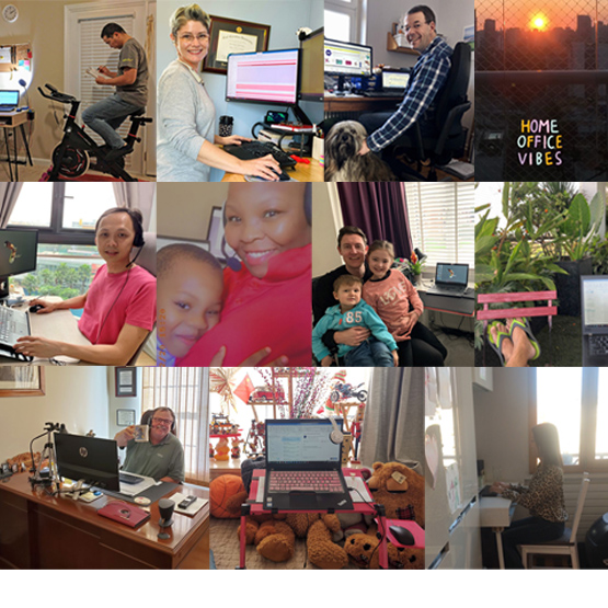 Images of home-office settings and employees