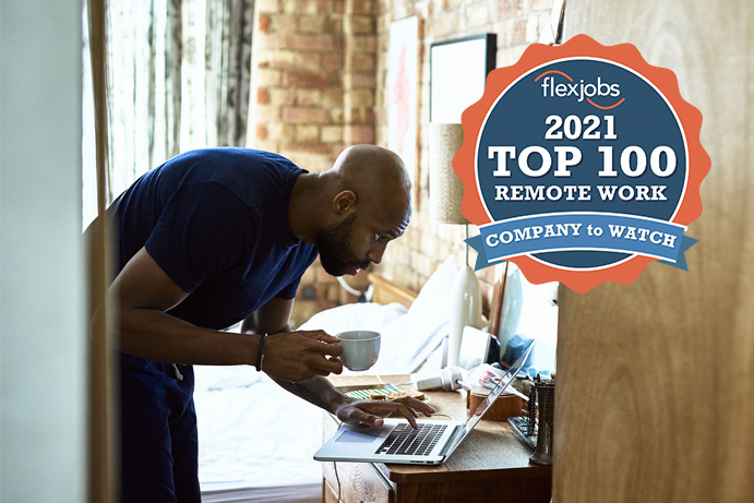 Image of man working from home - Logo of Flexjobs 2021 Top 100 Remote Work