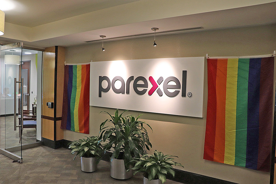 Image of Parexel's Durham office entry area with pride month celebration flags