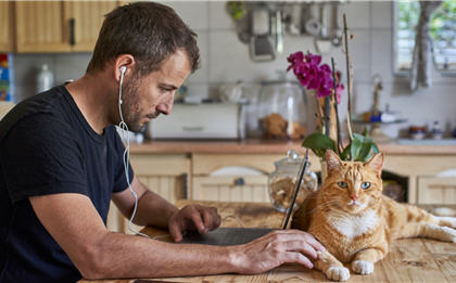 Man on computer next to cat